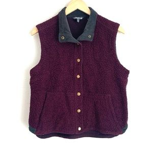 Toad&co plum button front Sherpa vest